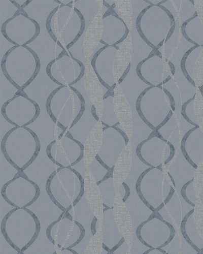 Wallpaper graphic loops gloss Marburg blue silver 58121