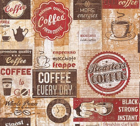 Wallpaper Coffee Kitchen Vintage red brown 33480-1 online kaufen