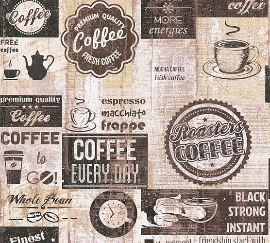 Wallpaper Coffee Kitchen Vintage dark brown 33480-3 online kaufen