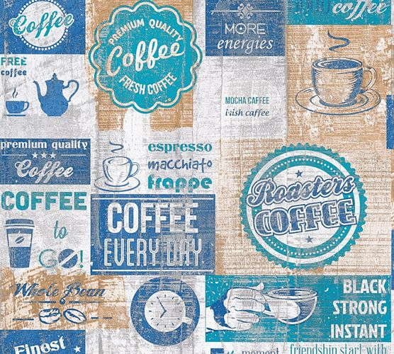 Wallpaper coffee vintage turquoise AS Creation 33480-4 online kaufen