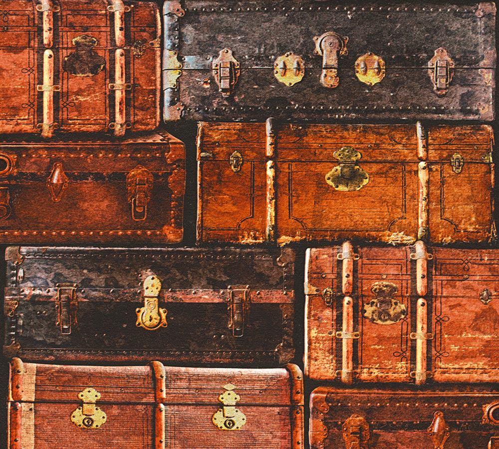 tapete koffer vintage used braun as creation 33983 1. Black Bedroom Furniture Sets. Home Design Ideas