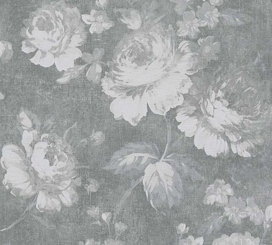 Wallpaper rose flower vintage grey AS Creation 33604-1