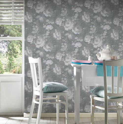 Wallpaper rose flower vintage grey AS Creation 33604-1 online kaufen