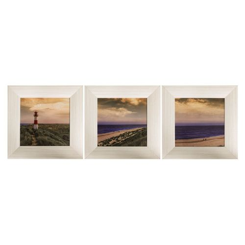 Set of 3 Framed Pictures Lighthouse Beach Ocean 23x23cm online kaufen
