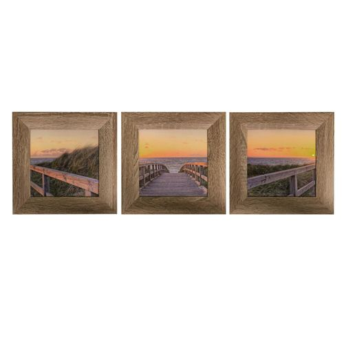 Set of 3 Framed Pictures Sun Beach Ocean 23x23cm online kaufen