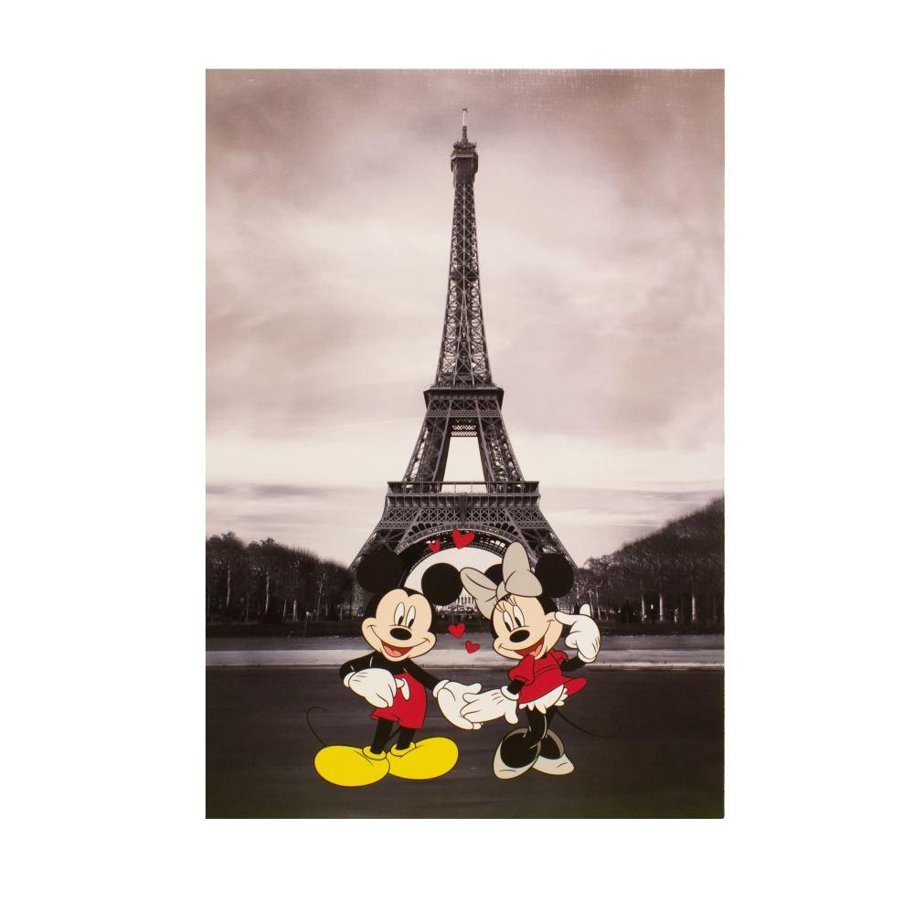 Wandbild Keilrahmen Disney Micky Minnie Maus Paris 60x90cm