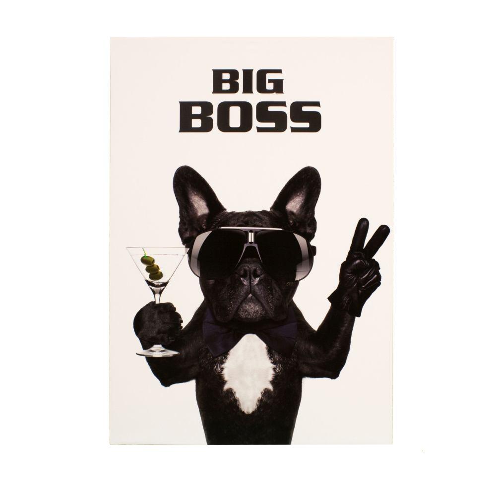 wandbild keilrahmen bild hund bulldogge big boss 60x90cm. Black Bedroom Furniture Sets. Home Design Ideas