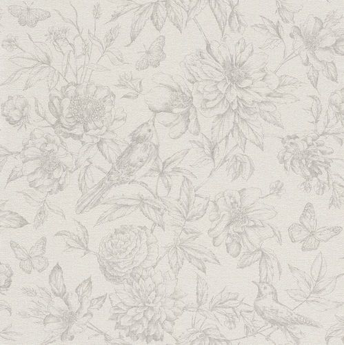 Wallpaper Rasch Florentine flowers bird light grey 449433
