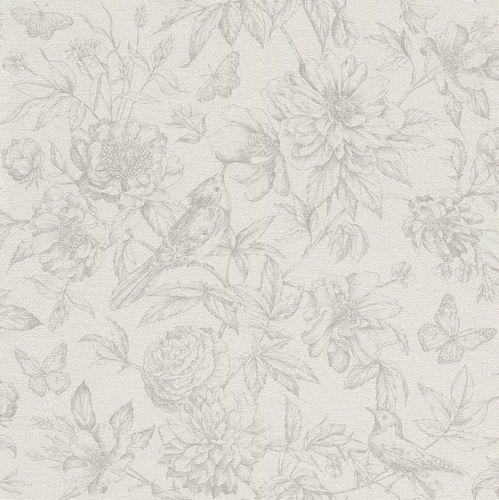 Vliestapete Rasch Florentine Blumen Vogel hellgrau 449433 online kaufen