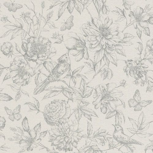 Wallpaper Rasch Florentine flowers bird grey 449440