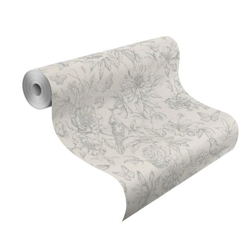 Wallpaper Rasch Florentine flowers bird grey 449440 online kaufen