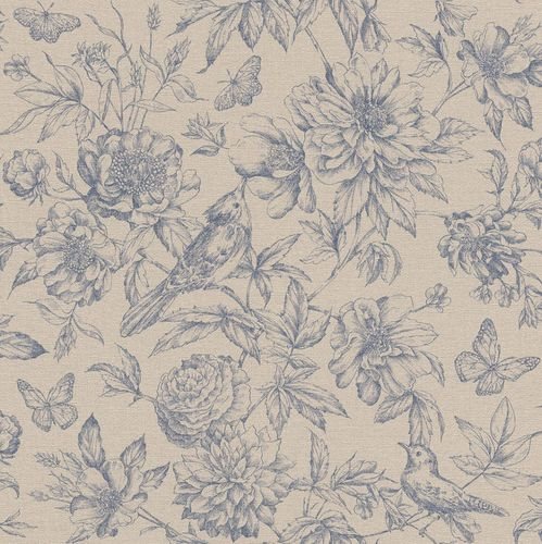 Wallpaper Rasch Florentine flowers bird beige grey 449471
