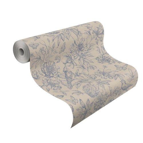 Wallpaper Rasch Florentine flowers bird beige grey 449471 online kaufen