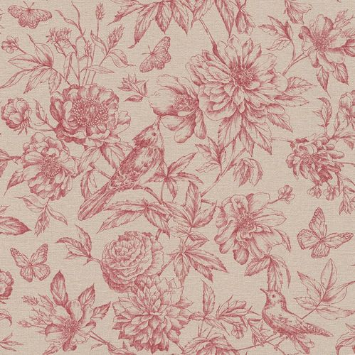Wallpaper Rasch Florentine flowers bird red brown 449495