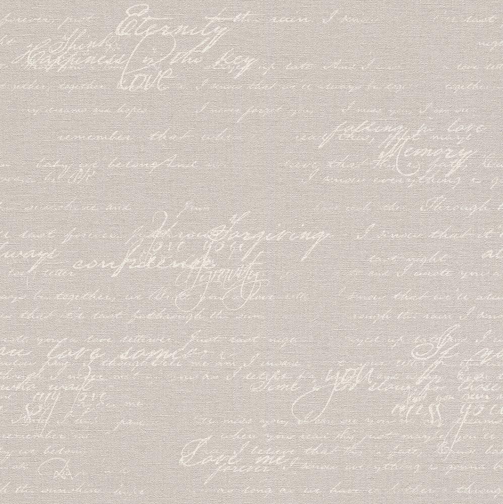 Vliestapete Rasch Florentine Schriftzug Vintage Grau