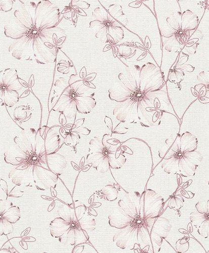 Vliestapete Blumen weißgrau rosé Glitzer Erismann 5970-05 online kaufen