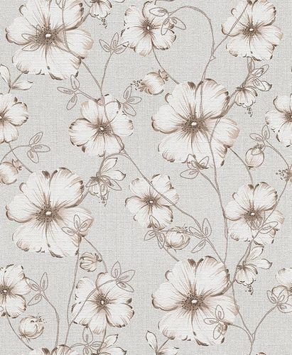 Wallpaper flower grey taupe glitter Erismann 5970-38