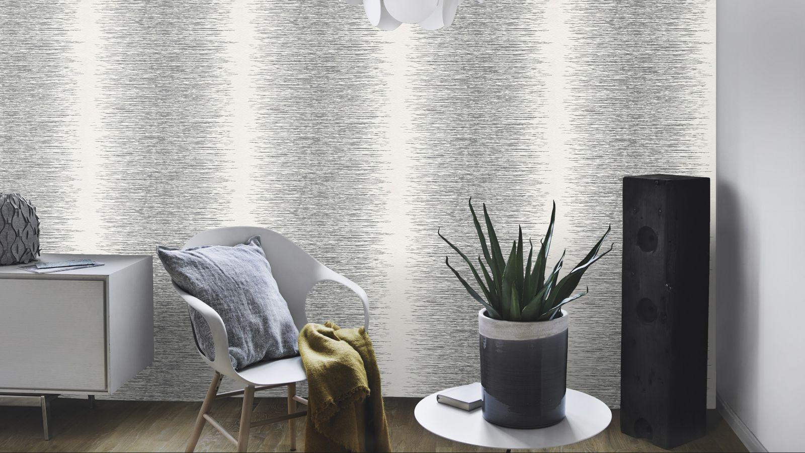Beliebt Vliestapete Rasch Deco Style Streifen silber weiß 413809 XM53