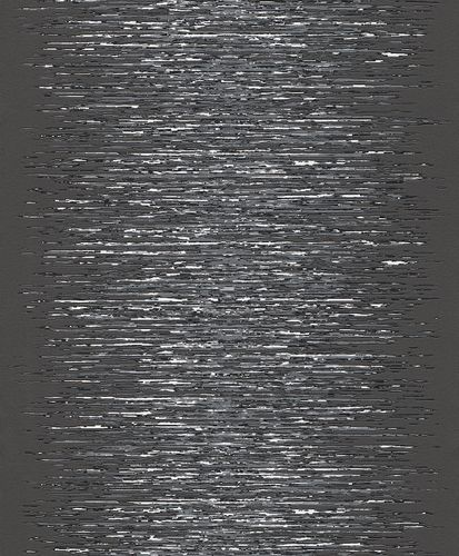 Wallpaper Rasch Deco Style stripes anthracite silver 413816