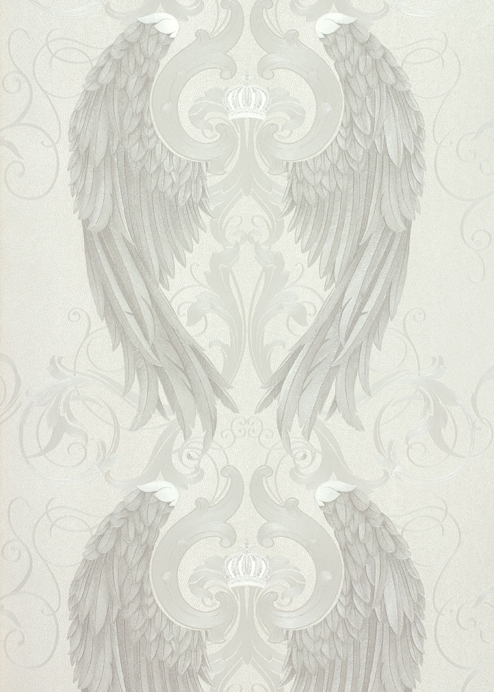 Wallpaper Gloockler Angel Wings Cream Silver Metallic