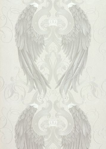 Wallpaper Glööckler angel wings cream silver Metallic 54843