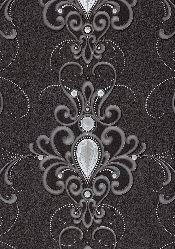 Wallpaper Gloockler Diamond Ornament Anthracite Metallic