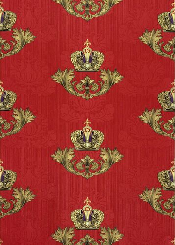 Wallpaper Glööckler baroque crown red Metallic 54856 online kaufen