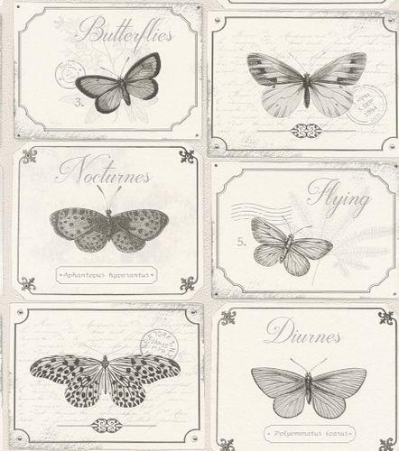 Wallpaper Rasch Deco Style butterfly cream grey 306514