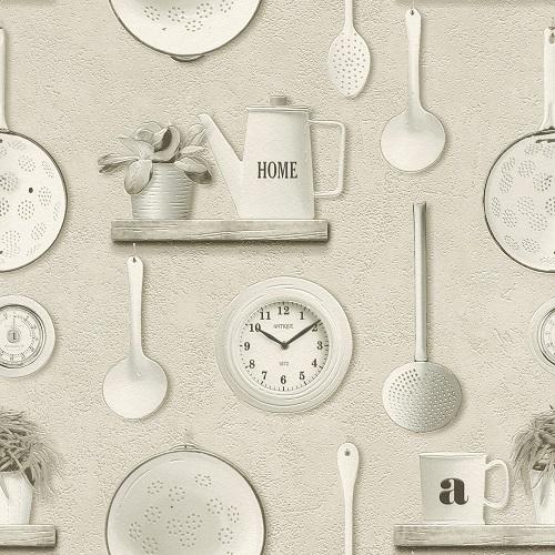 Vinyltapete Rasch Deco Relief Küche hellgrau grau 307115 online kaufen
