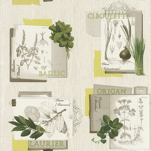 Wallpaper Rasch Deco Style herb white grey green 307405