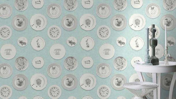 Wallpaper Rasch Deco Style dishes light blue grey 512021 online kaufen