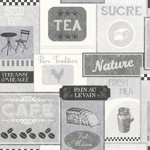 Wallpaper Rasch Deco Style vintage diner grey 518429