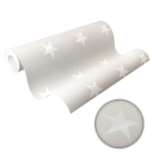 Wallpaper Stars Gloss beige grey white HOMEFACTO:RI 34760-2