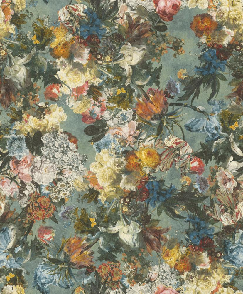 Wallpaper Rasch Passepartout Flowers Floral Blue 605655