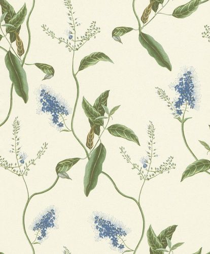 Wallpaper Rasch Passepartout leaves cream blue 605730 online kaufen