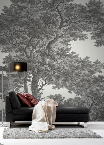Wallpaper panel Rasch Passepartout forest trees white 606898 online kaufen