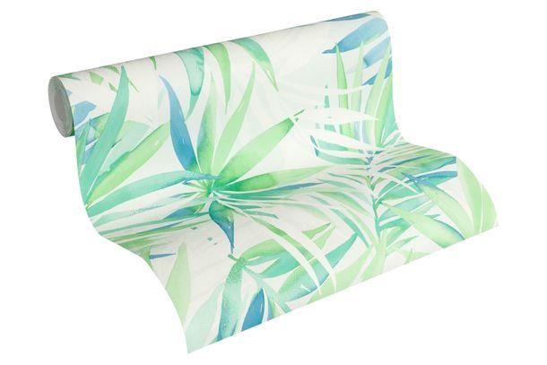 Vliestapete Designdschungel Palmenblätter grün blau 34125-1