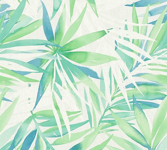 Wallpaper Designdschungel palm-leaves green blue 34125-1 online kaufen