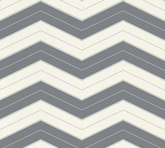Wallpaper Designdschungel zigzag grey Metallic 34242-3