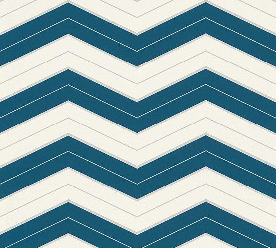 Wallpaper Designdschungel zigzag blue Metallic 34242-4