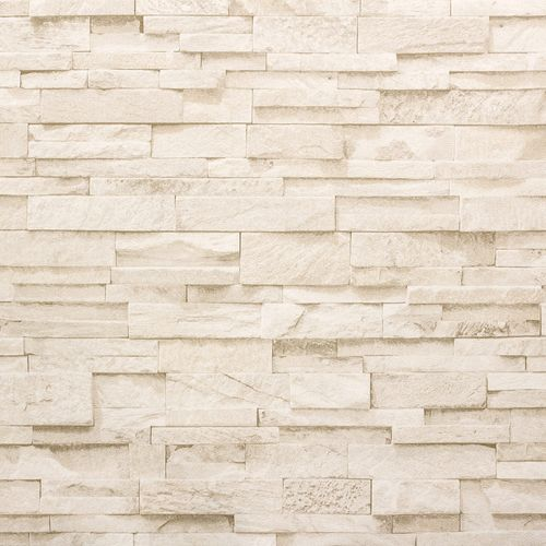 Non-woven wallpaper stone 3D optics beige 02363-50