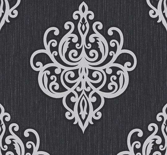 Wallpaper glitter baroque black grey P+S 02491-10