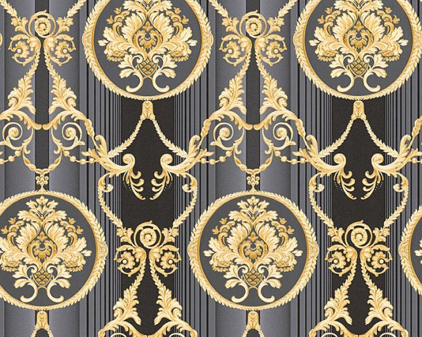 Wallpaper Hermitage ornaments black Metallic 33083-6 online kaufen
