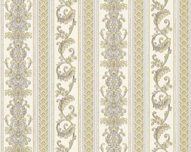 Wallpaper Hermitage stripes tendril white Metallic 33547-2 online kaufen