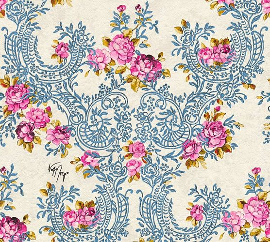 Wallpaper Wolfgang Joop flower blue Metallic 34075-3