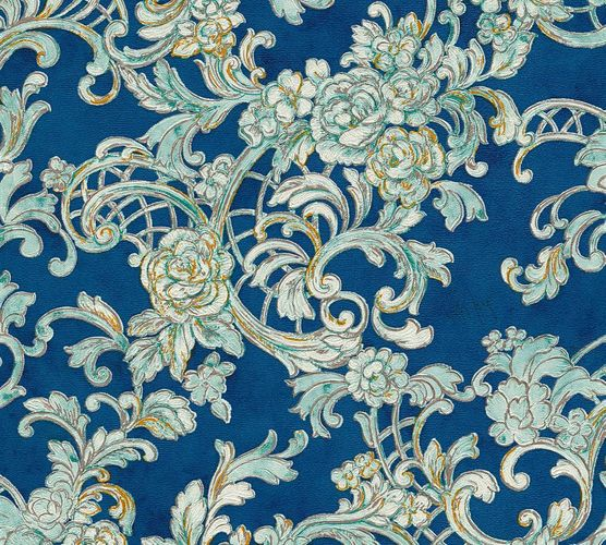 Wallpaper Wolfgang Joop ornament blue Metallic 34077-1