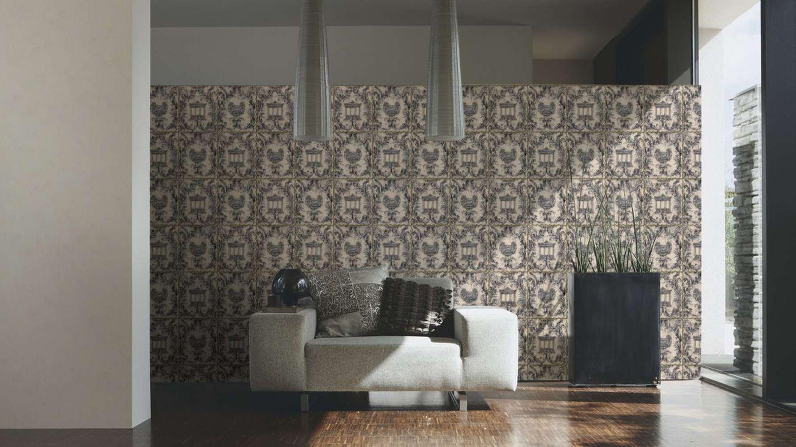 tapete wolfgang joop antik tempel silber glitzer 34086 2. Black Bedroom Furniture Sets. Home Design Ideas