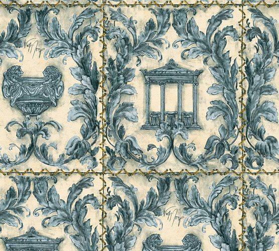 Wallpaper Wolfgang Joop greek temple light blue glitter 34086-3