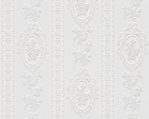 Tapete weiß glitzer  Barock Streifen weiß Glitzer AS 1861-40