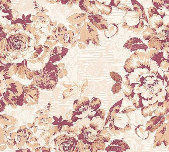 Wallpaper flower floral nature maroon gloss AS 33864-5